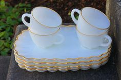 milk glass snack set 8 pieces by thegardenparty on Etsy, $25.00