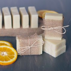 Orange + Tea Tree Soap (sub goat  milk for water and add orange zest)