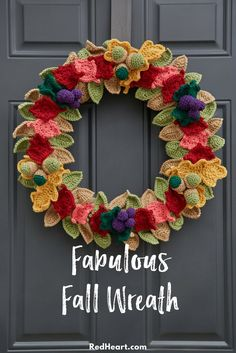 Use your crochet skill to create a wreath of amazing autumn colors! These small pieces are great for having a take along project. And the finished wreath is perfect for giving your front door a color boost.