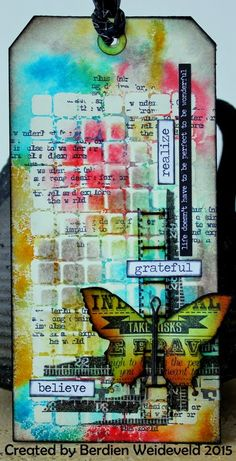 Scrap from Bemmel: Colorful tag using Tim Holtz, Ranger, Idea-ology, Sizzix and Stamper's Anonymous products; Atc Cards, Card Tags, Gift Tags, Mixed Media Cards, Mixed Media Journal, Mix Media, Distress Ink Techniques, Timmy Time, Handmade Tags
