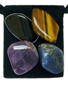 BLOCK PSYCHIC ATTACK Tumbled Crystal Healing Set - 4 Gemstones w/Description & Pouch - Amethyst, Black Tourmaline, Lapis Lazuli, Tiger's Eye