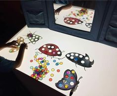 Do a dot pages w markers or math counters Toddler Sensory Bins, Reggio Emilia, Licht Box, Do A Dot, Light Board, Light Panel, Sensory Table, Shadow Play, Bugs And Insects