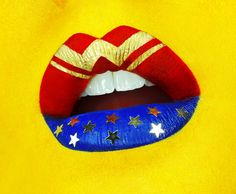lisa-marie charron makeup artist -  #yellowlips #wonderlips #wonderwoman #stars