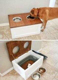Top 27 DIY Ideas How to Make a Perfect Living Space for Pets DIY Dog Food Station with Storage underneath. Top 27 DIY Ideas How to Make a Perfect Living Space for Pets DIY Dog Food Station with Storage underneath. Dog Feeding Station, Dog Station, Diy Home Decor For Apartments, Diy House Decor, Home Decor Ideas, Apartment Ideas, Diy Home Decor On A Budget, Bedroom Apartment, Diy House Ideas