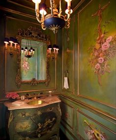 Exquisite details in this tiny powder room