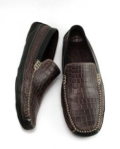 f610c2767a3 Tommy Bahama Mens Shoes Brown Black Croc Leather Driving Loafers Size 9.5 M   TommyBahama