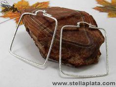 Arracada Diamantada Cuadrada G Plata 925
