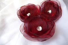 Handmade applique flowers oganza burgundy 3 pcs europeanstreetteam wedding diy bridal bouquet decor. $7.50, via Etsy.