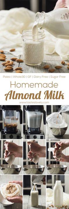 Paleo + Whole30 Homemade Almond Milk - just 2 ingredients! Paleo, Whole30, gluten free, grain free, dairy free
