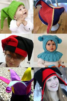 jester hat pattern - knit, crochet, or sew a hat for April Fool's day