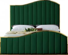 "Jolie Collection JOLIEGREEN-K 88"" King Size Bed with Velvet Upholstery Channel Tufting Polished"
