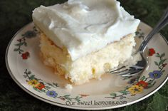 Our Sweet Lemons: Crushed Pineapple Cake ~  http://oursweetlemons.com/2011/04/crushed-pineapple-cake.html?m=1   ~   (May have to sprinkle shredded coconut all over the top of this.  I'm just saying...)