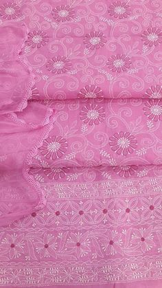 Lucknowi Chikan Suit Length 3 Piece Pink Cotton $61.07