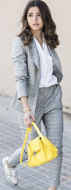 #spring #style #fashionistas #outfitideas | Grey Plaid Pant Suit + Yellow Bag + Sneakers | Lovely Pepa