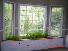 Window seat turned into herb garden.