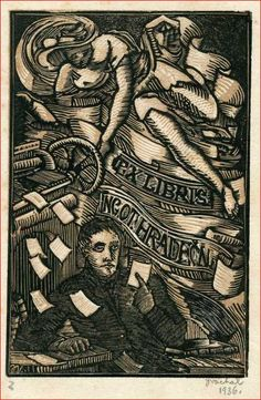 Bookplate by Josef Vachal for Ing Ot Hradecny, 1926 Ex Libris, Hand Carved, Book Art, Carving, Artist, Prints, Books, Self, Libros