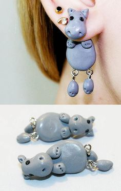 Hey, I found this really awesome Etsy listing at https://www.etsy.com/listing/151600627/two-sided-post-earrings-hippopotamus