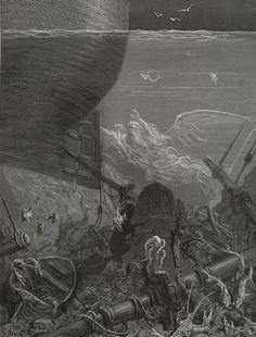 Nine Fathom Deep He had Followed Us - from The Rime of the Ancient Mariner - by Paul Gustave Dore - Plate 12 (Jonnard, engraver)
