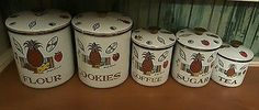 Georges Briard mid century 5 Piece Canister Set Pineapple Ambrosia Enamelware