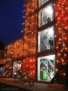 Freitag tower, Zurich, Switzerland - well I've got to see as many buildings adorned with twinkle lights as possible! Switzerland Cities, Switzerland Vacation, Swiss Switzerland, Container Buildings, Container Architecture, Architecture Design, Zurich, Zermatt, Wallis