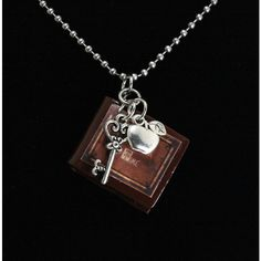 """Once Upon A Time Necklace """"Henry's Book"""" V1 Poison Apple and Queen's... (€15) ❤ liked on Polyvore featuring jewelry, necklaces, once upon a time, skeleton necklace, stainless steel jewellery, stainless steel jewelry, long necklace and twist jewelry"""