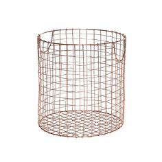 Hubsch Large Round Copper Basket: This beautiful round wire basket with a luxe copper finish, by Hubsch, is the perfect stylish storage solution for your home. With its lightweight frame and handles, the basket is easy to manoeuvre, making it ideal as a trendy laundry basket or to store toys. The copper finish will fit in well with a modern interior style. Hubsch strives to deliver a unique experience in terms of service, quality, and design. At the core of their focus is people - you are…