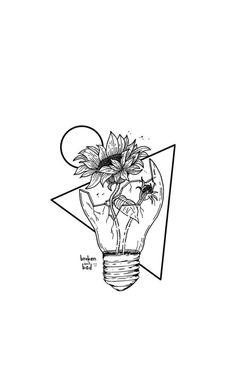 -broken isnt always bad- broken sunflower lightbulb pretty good background depressing ya # Bad Drawings, Cool Art Drawings, Pencil Art Drawings, Art Drawings Sketches, Tattoo Sketches, Tattoo Drawings, Good Sketches, Contour Drawings, Charcoal Drawings