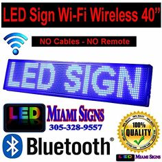 Amazing LED Sign with Wi Fi Connection Programmable LED Display Ultra Bright BLUE Size