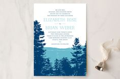 """Mountain View"" - Rustic, Destination Wedding Invitations in Pine Green by Ariel Rutland."