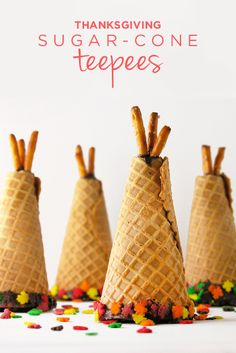 Create a unique sweet treat with your kids this Thanksgiving with these adorable Sugar Cone Teepees! Chocolate, pretzels, ice cream cone, and sprinkles come together to assemble this cute dessert—perfect for setting on each plate for the kids' table on Thanksgiving Day.
