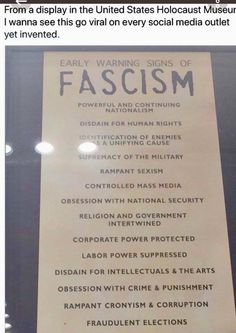 Early Warning Signs of Fascism Social Media Outlets, Warning Signs, Social Issues, Social Justice, Human Rights, Knowledge, Thoughts, Sayings, Words