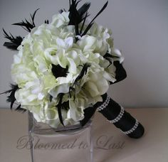 Hollywood Glam Black, White, Feather and Anemone BOUQUET & BOUTONNIERE Set