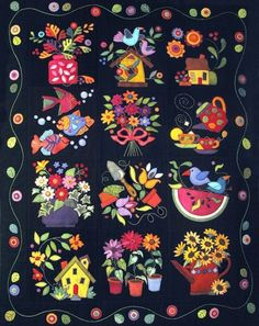 Summertime wool quilt pattern by Erica Kaprow, Designer. Pattern available at PatternSpot.com