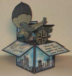 """Mamapias-Stempelecke: Card-in-a-box """"Über den Wolken"""""""