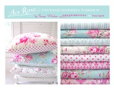 Ava Rose, I so love this color combo! Shabby Chic Fabric, Textiles, Gorgeous Fabrics, Little Girl Rooms, Girls Bedroom, Girl Nursery, My Baby Girl, Fabric Patterns, Child Room
