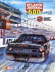 The Dale Earnhardt-inspired art of Garry Hill was featured prominently on the cover of the 1990 season-ending, Atlanta Journal 500 Souvenir Program Nascar Trucks, Nascar Racing, Auto Racing, Nascar Heat, Atlanta Journal, The Intimidator, Truck Memes, Automobile, Kyle Busch