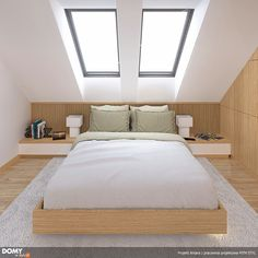 Antara projekt domu - DOMY w Stylu Modern interiors in the ANTARA project. Attic Master Bedroom, Attic Bedroom Designs, Attic Bedrooms, Bedroom Loft, Home Bedroom, Skylight Bedroom, Attic Bedroom Storage, Small Bedrooms, Storage Room