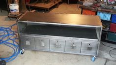 Stylish Upcycled Industrial Media/Storage Console — Best offer $900