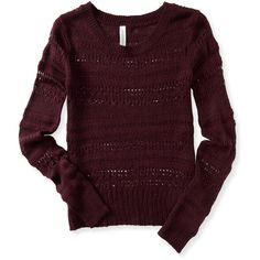 Aeropostale Long Sleeve Open-Knit Sweater featuring polyvore, fashion, clothing, tops, sweaters, volcano red, purple top, aeropostale sweaters, acrylic sweater, aeropostale tops and red top