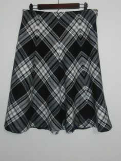 $28.95 OBO Ann Taylor High Waisted Black & White Plaid A Line Wool Blend Skirt Size: 10 #freeshipping
