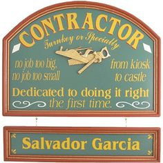 Personalized Contractor Custom Wood Sign