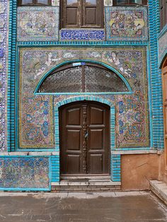 Door on the walk of Tekyeh Mo'aven ol Molk, Kermanshah,Kermanshah,Iran.