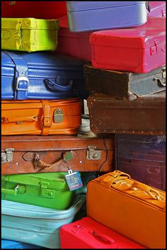 raimbow coloured suitcases