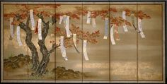 Left screen. Flowering Cherry and Autumn Maple with Poem Slips. c. 1654/81. Tosa Mitsuoki (c. 1617-1691). One of a pair of six-panel screens: Ink, color, gold, and silver on silk. Art Institute of Chicago.