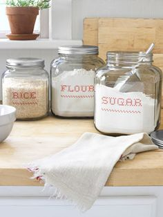 "DIY ""Embroidered"" Kitchen Canisters using a free font from myfonts.com and transparent sticker sheets!  Very country chic!"
