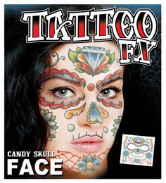 Candy Skull Full Face Temporary Tattoo