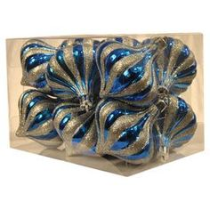 Helena Ornament in Blue & Silver (Set of 12)