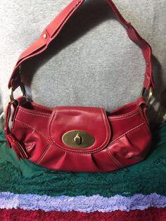 Handbag SALE just $73.50 freeship @eBay  Tommy Hilfiger Red Gold Trim Shoulder Bag Turn Lock Purse Flap Hobo