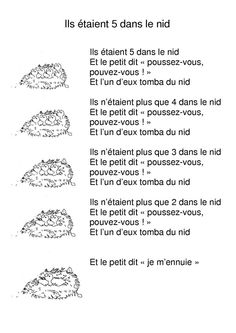 ils étaient 5 dans un nid - Pin Core French, French Class, Grade 2 Science, Circle Time Songs, French Worksheets, French Immersion, French Language Learning, Early Literacy, Teaching French