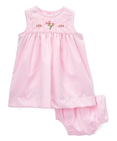 Love this Pink Floral Embroidered Babydoll Dress & Diaper Cover - Infant on #zulily! #zulilyfinds